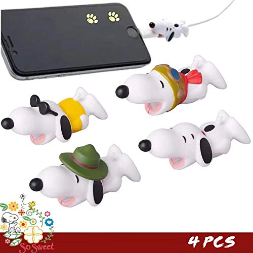 - Cute Anime Bite Cable Protector - 4 PCS (Snoopy Suit) Charger Pet,Cable Buddy(Compatible with iPhone Cords Only),Gift Fit Friends & Children