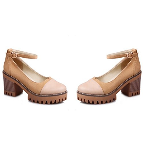 COOLCEPT Mujer Moda Al Tobillo Court Zapatos Cerrado Tacon Ancho Bombas Zapatos Albaricoque