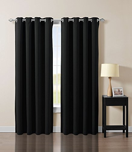 Chezmoi Collection Solid Grommet Top Thermal Insulated Blackout Window Curtain Panel (52