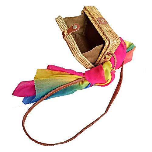Cotton Square Handbag Shoulder Bag - Zinuo Exquisite Straw Bag Women Rattan Woven Shoulder Handbag Summer Beach Crossbody Bag (Square)