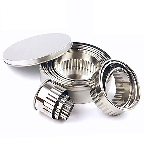 Stainless Steel Fluted Edge Round Cookie Biscuit Cutter Set 12 Pieces Graduated Ring Sizes