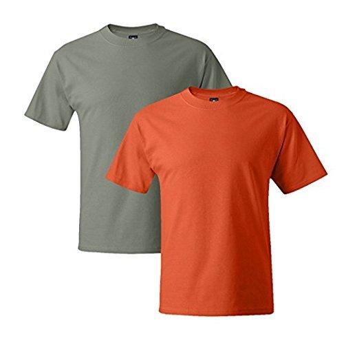 Hanes Mens 5180 Short Sleeve Beefy T, 1 Orange/1 Stonewash Green Large