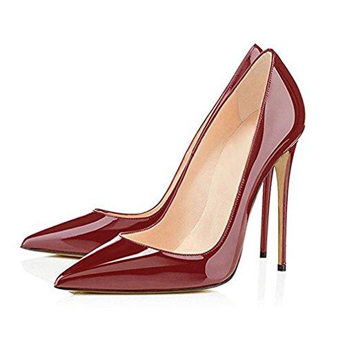 Classico burgundy High EDEFS Spillo a Donna Scarpe col Tacco Scarpe 12CM da Tacco Donna Scarpe A Heels Donna THTxFwI