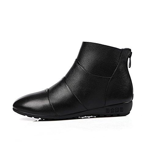 BalaMasa Womens Zipper Solid Comfort Faux-Fur Flats Shoes Black meDS5Dt1