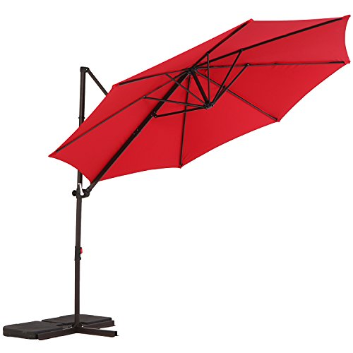 LCH 10ft Offset Cantilever Umbrella Outdoor Patio Backyard Market, Easy Open Lift, Cross Base Stand, 360 Degree Rotation, UV Protective, Red