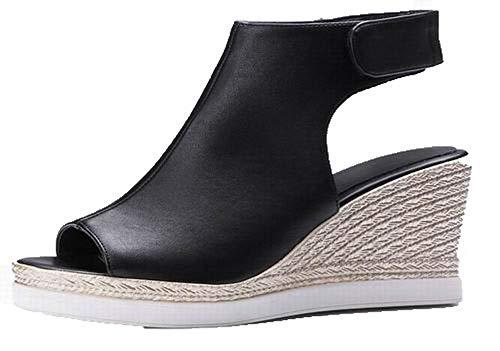 VogueZone009 Women Hook-and-Loop High-Heels Pu Peep-Toe Sandals,CCALP015590 Black