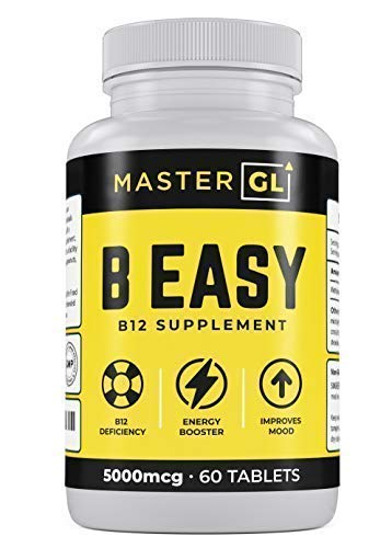 B Easy- Methylcobalamin Vitamin B12, max Strength 5000 mcg Tablet 2 Month Supply for Natural Energy & Metabolism, Benefit Brain & Heart Function