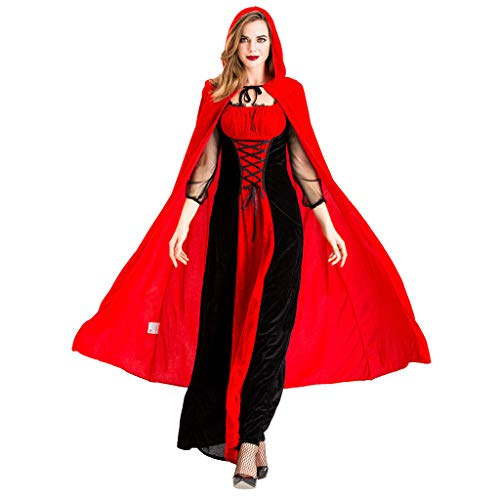 Halloween Event 07 (Women Halloween Cosplay Vintage Style Dress Witch Gothic Medieval Victorian Costume Dress (Red,)