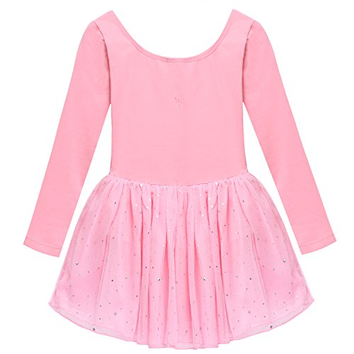 Arshiner Girls' Classic Long Sleeve Sequins Tutu Dress Leotard,Pink,Size 140