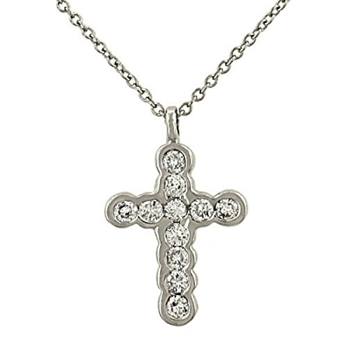 Half Bezel Set Diamond Cross Pendant .50ct (Chain sep)