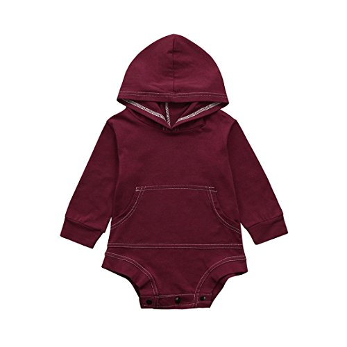 Goodlock Toddler Infant Fashion Romper Baby Boys Girls Solid Hooded Jumpsuit Outfits Clothes (Wine, Size:6M) (Velvet Onesie)