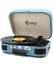 USB Bluetooth Record Player with Stereo Speakers,3 Speed Briefcase Turntable with USB Play&Encoding, Pitch Control and RCA Output&Aux Input,Blue