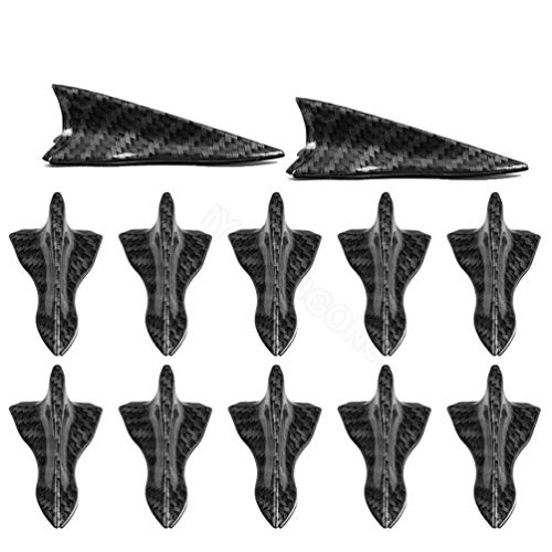 IYSHOUGONG 12 Pcs Mini Shark Fin Diffuser Vortex Generator Car Spoiler Roof Wing Pointed End Style Decoration Universal Car Truck ()