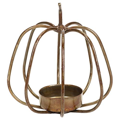 Honey & Me 4'' x 4'' Metal Pumpkin Shaped Tea Light Candle Holder by Honey In Me