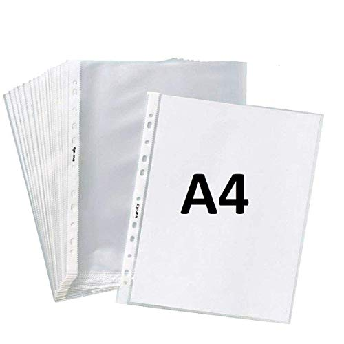 True-Ally Heavy Duty 50 Pcs 200 Micron Transparent Document Sleeves, Leaf Sheet Clear Certificates/Waterproof Sheet Protectors 11 Holes Punched Ring Files Folder (A4 Size) (50 Sheets – 200 Micron)