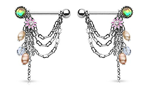 Nipple Ring Bars Dangle Beads Body Jewelry Pair 14 gauge Sold as pair ()