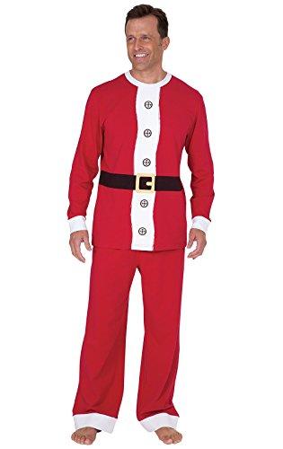 PajamaGram Holiday Santa Pajamas Men - Fun Christmas Pajamas, Cotton, Red, MD
