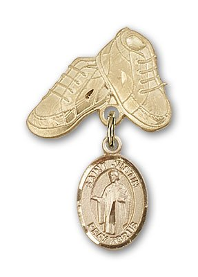 ReligiousObsession's 14K Gold Baby Badge with St. Justin Charm and Baby Boots Pin