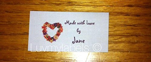 40 Custom Sew in Fabric Flat Sewing Labels/tags with Floral Heart Graphic-made in USA