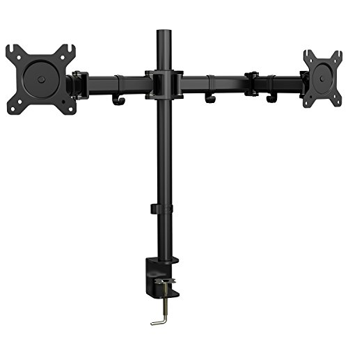 Dual Arm Monitor Mount, Full Motion Height Adjustable Desk Riser Stand with C-Clamp Installation for Two 13 to 27 inch Computer Screens, up to 17.6lbs Each Arm by (Tabletop Double Pedestal Base)