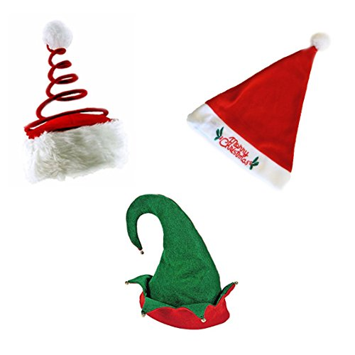 Set of 3 Christmas Hats - Merry Christmas Blinking Santa Hat, Elf Hat, and Coil Santa Hat
