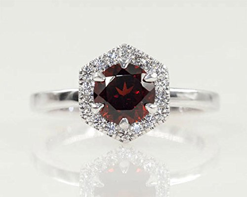 Ring Fine Platinum (Garnet Engagement Ring/Diamond Engagement Ring/Hexagon Garnet Wedding Ring/14K Gold Natural Garnet Ring/Diamond Engagement Ring)