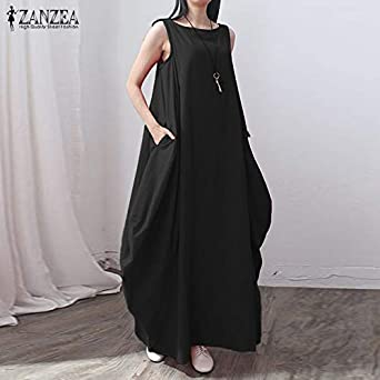 ZANZEA Womens Loose Sleeveless Vintage A Line Long Maxi Cocktail Party Dress