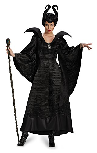 [Disguise Women's Disney Maleficent Christening Gown Deluxe Costume, Black, 12-14] (Halloween Costume World)