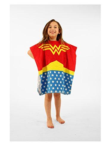 Wonder Woman Bath Towel Pool/Beach Hooded Poncho Robe for girls (Girls Poncho Towel)