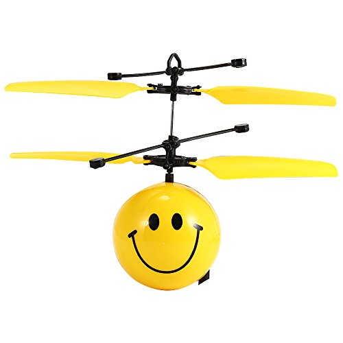 Hobbylane Infrared Sensor Aircraft,Hand Induced Flight Helicopter,Mini Emoji Balls RC Toys for Kids/Teenager,Learning Training Gift with Cartoon Expression (Smile)