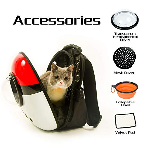 Xpect Cat Carrier Bubble Backpack Pet Travel Bag Small Dog Space Capsule Knapsack  Waterproof Breathable Red and White by Xpect (Image #2)