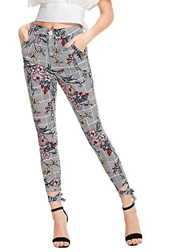 SweatyRocks Women's Floral Print Casual Plaid Capris Tie Cuff Skinny Work Pants (Medium, Multi #1)