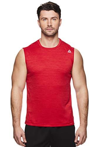 Reebok Men's Muscle Tank Top - Sleeveless Workout & Training Activewear Gym Shirt - Charger Varsity Red Heather, ()