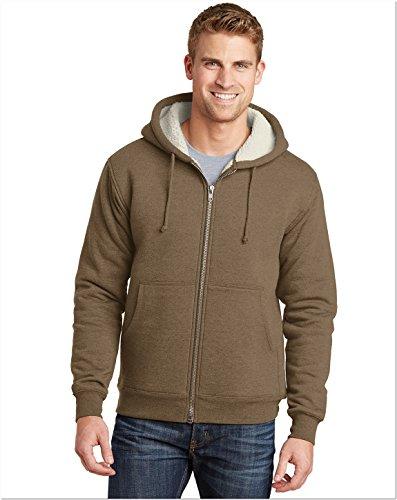 CornerStone Mens Heavyweight Sherpa-Lined Hooded Fleece Jacket CS625 -Brown L ()