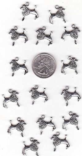 Lot of 15 METAL SILVER TONE POODLE DOG Jewerly Making Charms Supplies C 13 DIY for Necklace Bracelet and Crafting
