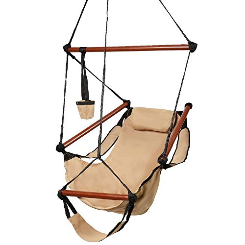 Z ZTDM Hammock Hanging Chair, Air Deluxe Sky Swing Seat with Pillow and Drink Holder Solid Wood Indoor/Outdoor Garden Patio Yard 250lbs (Tan) by Z ZTDM