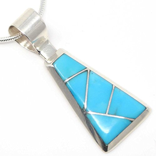 L7 Enteprises Channel Inlay Turquoise Trapezoid Pendant by Tucson
