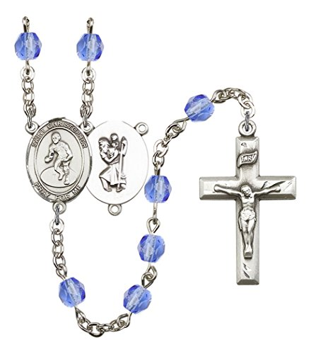 September Birth Month Prayer Bead Rosary with Saint Christopher Wrestling Centerpiece, 19 Inch by Birth Month Rosary