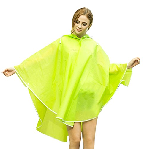 Ouvin Waterproof Packable Raincoat Outdoor Lipstick EVA Lightweight Poncho Women's Rain Hooded Green rpZqrA