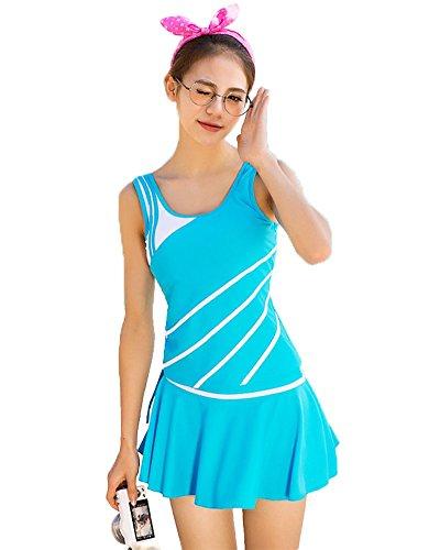 LifeWheel Chaleco tipo traje baño femenino Dividida bañador Traje de tres piezas Azur