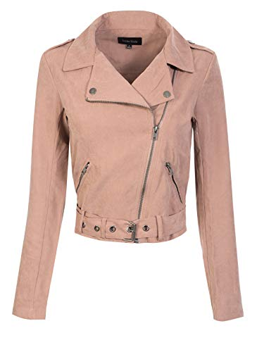 (Instar Mode Women's Lightweight Faux Suede Zip Up Short Moto Biker Jacket Dark Rose S)