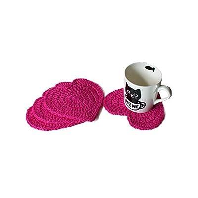 Handmade rainbow heart crochet coasters (Set of 6)