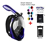 Snorkel Mask 180° View for Adults and Youth. Full Face Free Breathing Design.[Free Bonuses] Cell Phone Universal Waterproof Case (Dry Bag) and Anti-Fog Wipes (AmericanCap, Small/Medium)