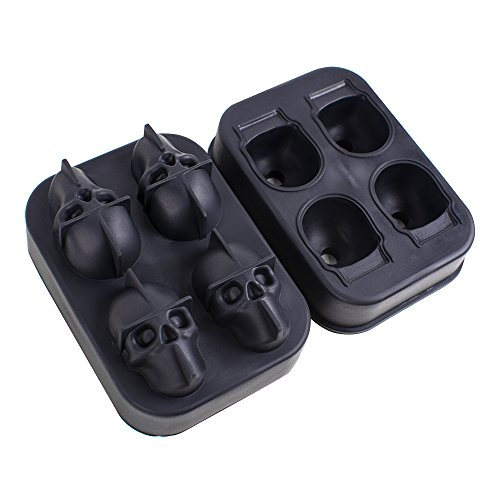 Denshine 3D Skull Flexible Silicone Ice Cube Mold Tray, Makes Four Giant Skulls, Round Ice Cube Maker