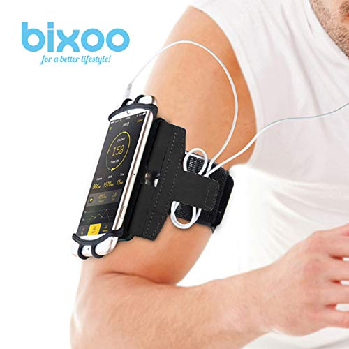 Armband Phone Holder for Running,Workout for iPhone X 7/7 Plus 8/8Plus 6/6S Plus, Galaxy S8/S9 S7 Edge Note 8 180° Rotatable with Key Holder by BIXOO (Black)