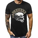 Kiasebu Fashion Men Skull Print Logo Short Sleeve Shirt O-Neck Tops Blouse Mens Funny T-Shirts Black