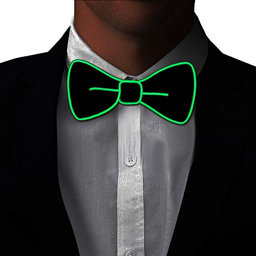 Glow In The Dark Bowtie (Light Up BowTie Costume Accessory LED Bow Tie Perfect for Halloween Party Christmas New Years Rave Party)