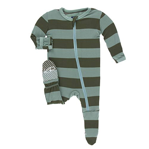 Kickee Pants Little Boys Print Footie with Zipper - Paleontology Fauna Stripe, 6-9 - Girls Pant Stripe
