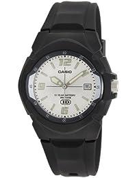 Men's MW600F-7AV Black Resin Quartz Watch with Silver Dial