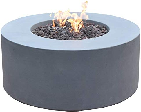Modeno Outdoor Venice Fire Pit Table Grey Durable Round Fire Bowl Glass Fiber Reinforced Concrete Propane Patio Fire Place 34 Inches Electronic Ignition Cover and Lava Rock Included